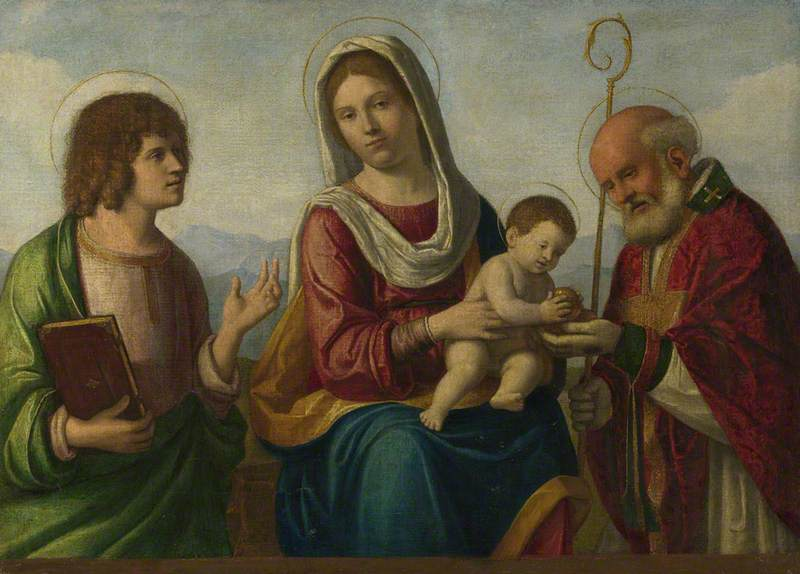The Virgin and Child with Saint John the Evangelist(?) and Saint Nicholas