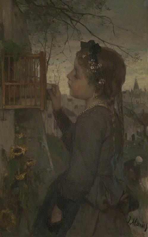 A Girl feeding a Bird in a Cage