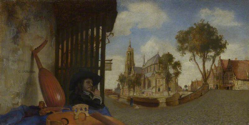 A View of Delft, with a Musical Instrument Seller's Stall