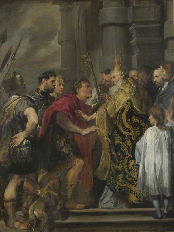 The Emperor Theodosius is forbidden by Saint Ambrose to enter Milan Cathedral
