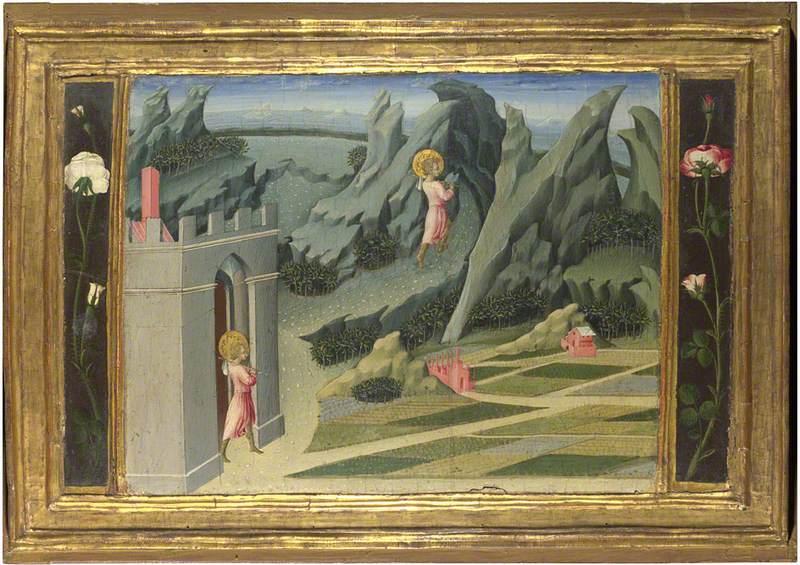 Saint John the Baptist retiring to the Desert: Predella Panel