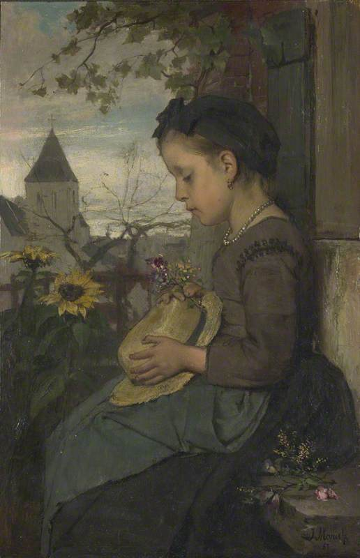 A Girl seated outside a House