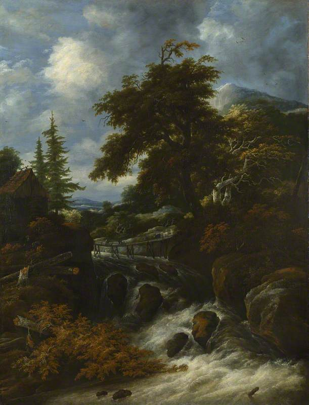 A Waterfall by a Cottage in a Hilly Landscape