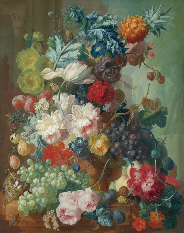 Fruit and Flowers in a Terracotta Vase
