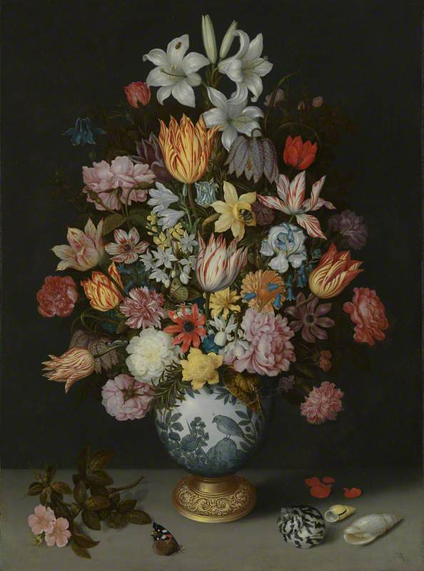 A Still Life of Flowers in a Wan-Li Vase on a Ledge with further Flowers, Shells and a Butterfly