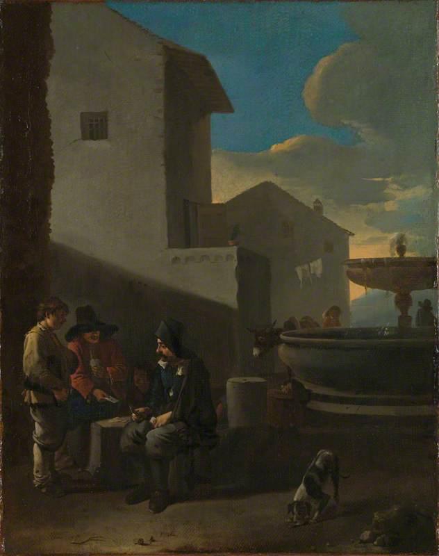 Roman Street Scene with Card Players