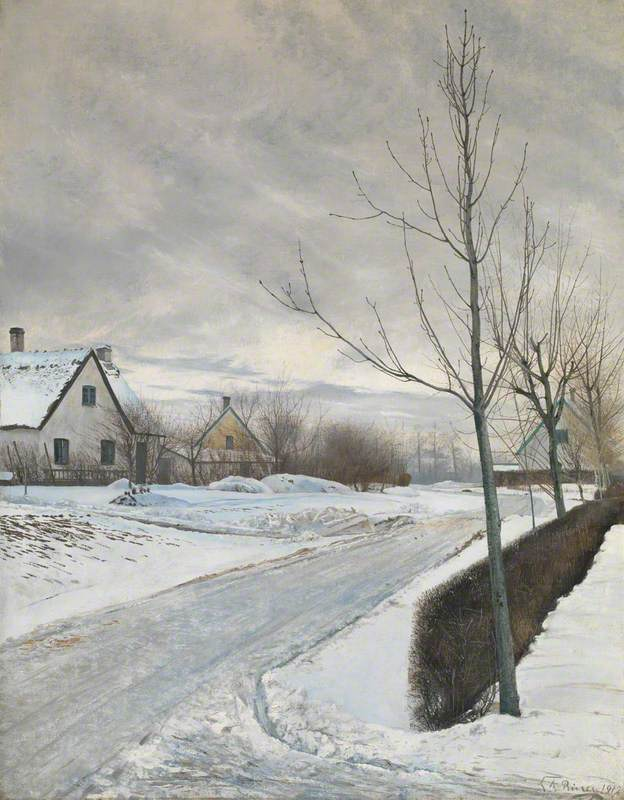 Road in the Village of Baldersbrønde (Winter Day)