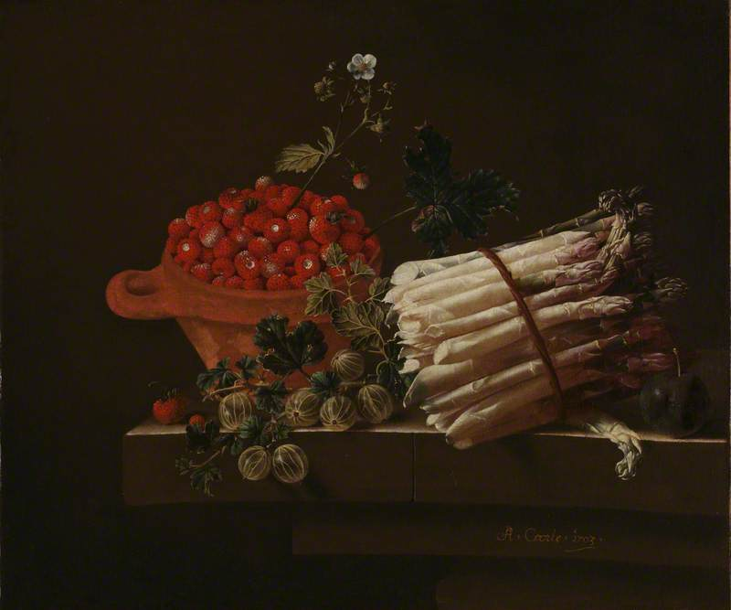 Still Life with Strawberries, Gooseberries and Asparagus