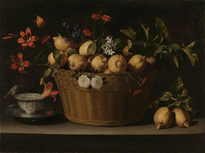 Still Life with Lemons in a Wicker Basket