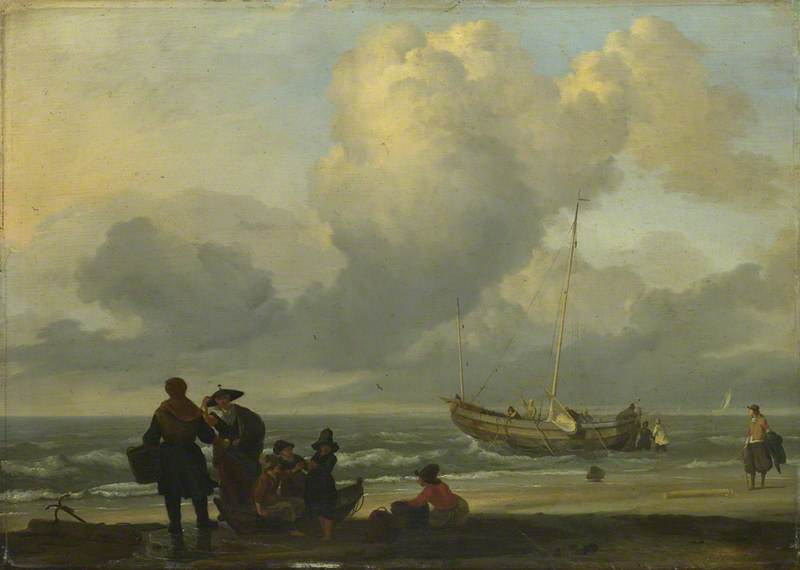 A Beach Scene with Fishermen