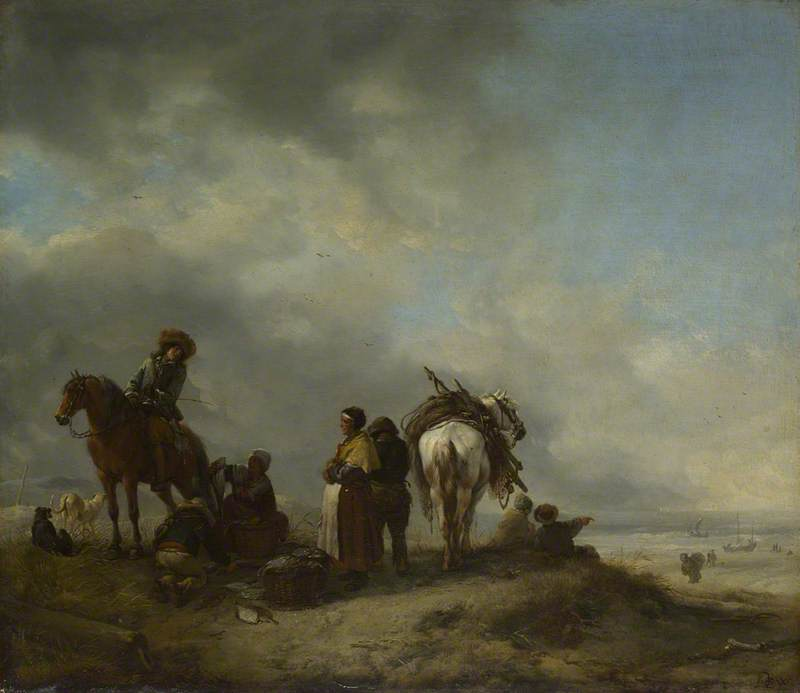 A View on a Seashore with Fishwives offering Fish to a Horseman
