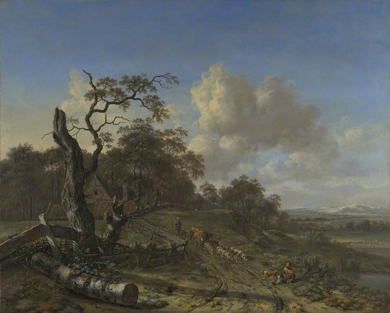 A Landscape with a Dead Tree, and a Peasant driving Oxen and Sheep along a Road