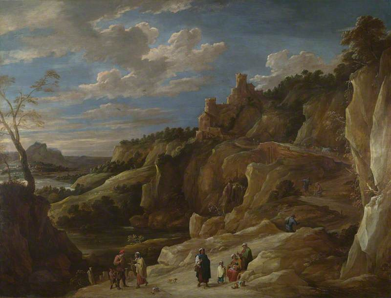 A Gipsy telling a Peasant his Fortune in a Hilly Landscape