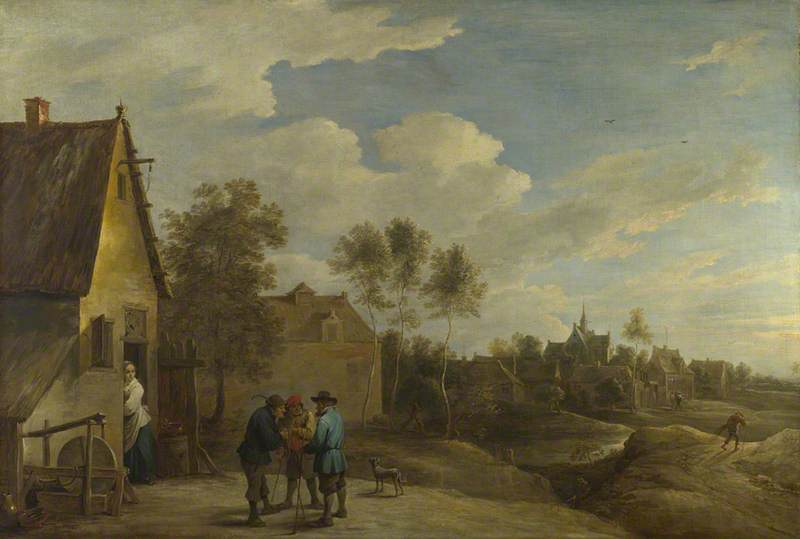 A View of a Village with Three Peasants talking in the Foreground