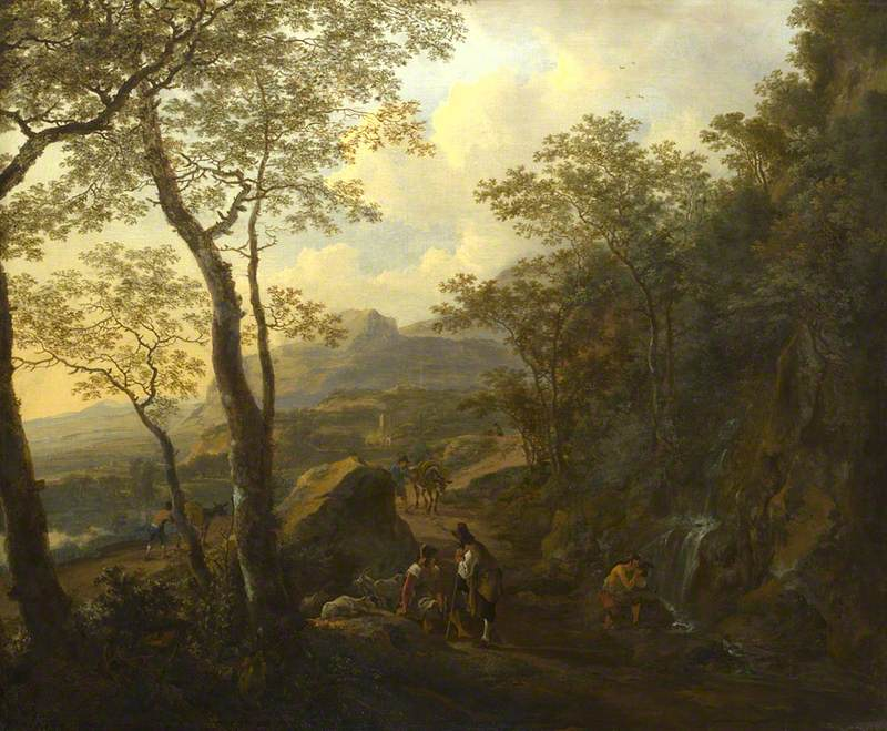 A Rocky Italian Landscape with Herdsmen and Muleteers