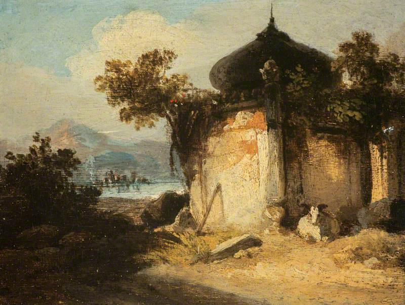 Bengal Landscape with a Hindu Shrine or Tomb