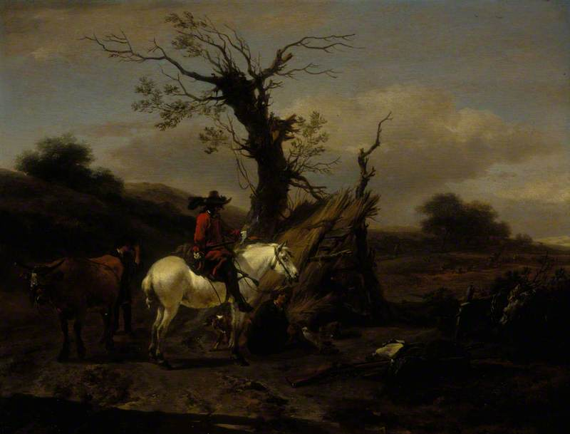 The Bird Trap: Encampment with a Figure on a White Horse