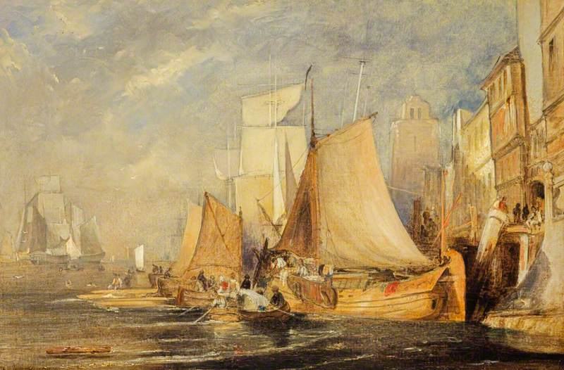 A Harbour Scene with Shipping
