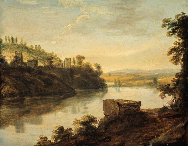 Italian River Landscape with a Hermit