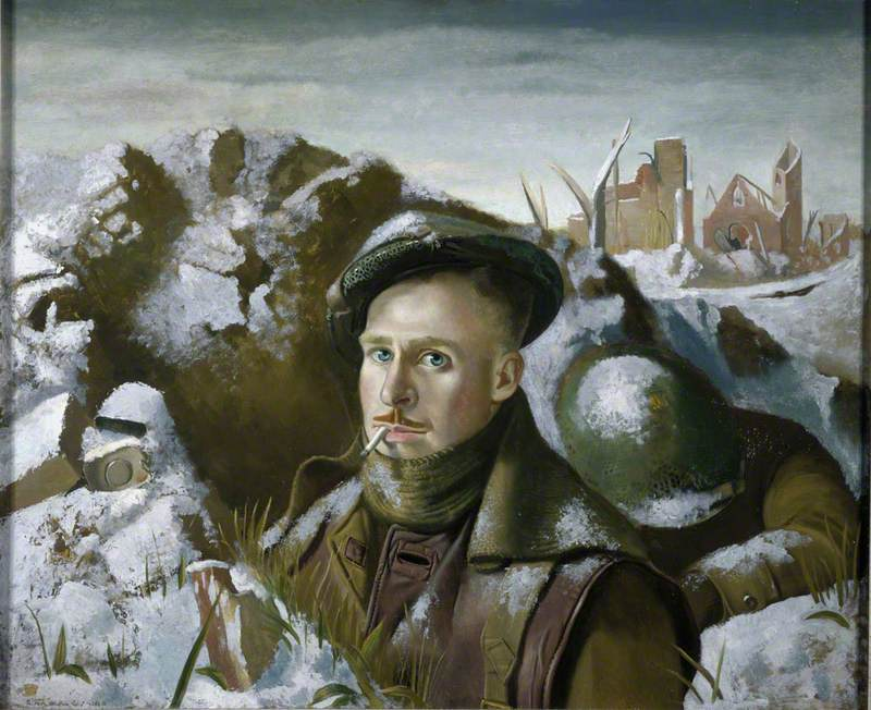 Robert Henderson Blyth (1919–1970), Self Portrait as Soldier in the Trenches