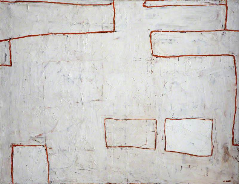 White with Red Lines