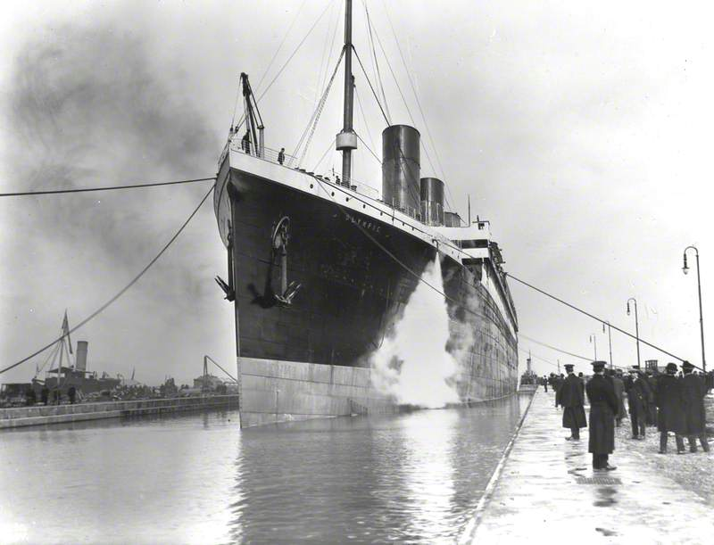 Port bow view of ship entering Thompson (Era) Graving Dock for final outfitting