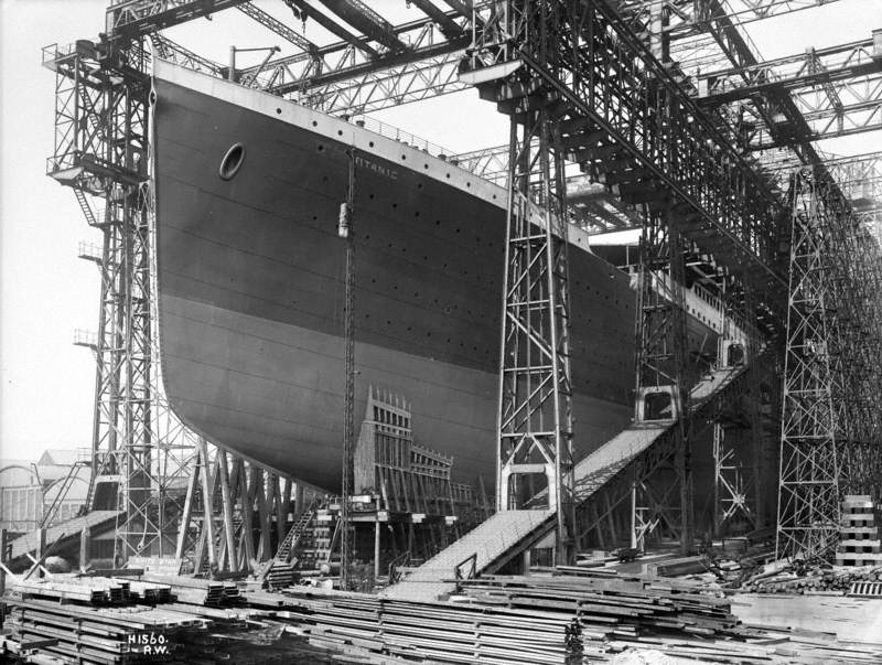 Port bow view on No. 3 slip in preparation for launch