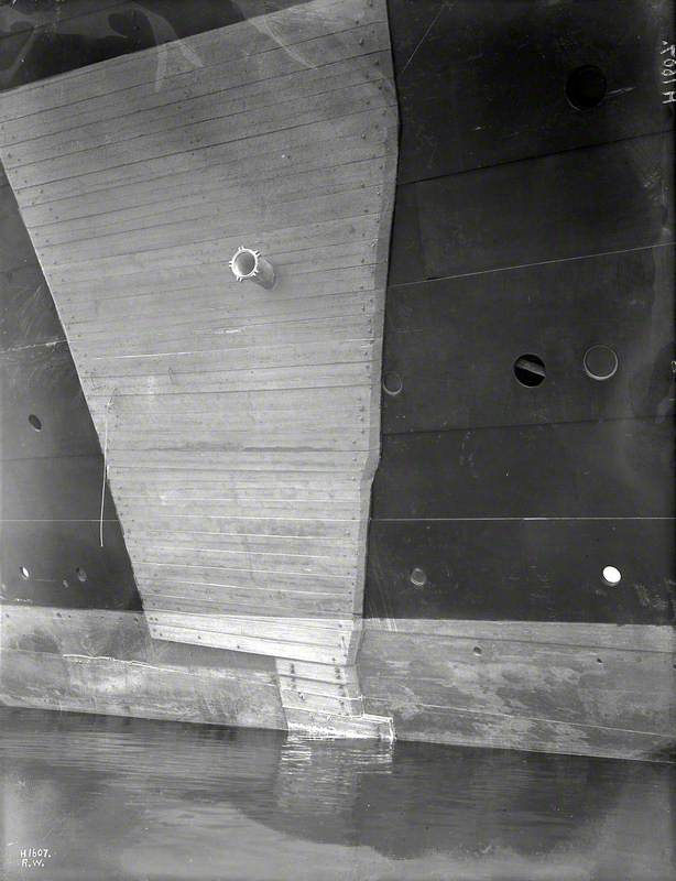 HMS 'Hawke' collision damage – wooden patch at stern covering damage