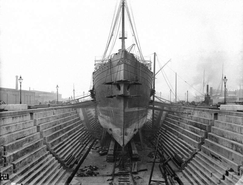 Bow view during hull lengthening