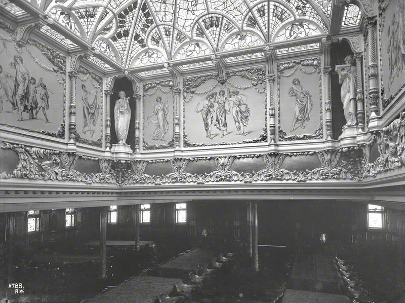 Dome, decorated panels and frieze in first class dining saloon