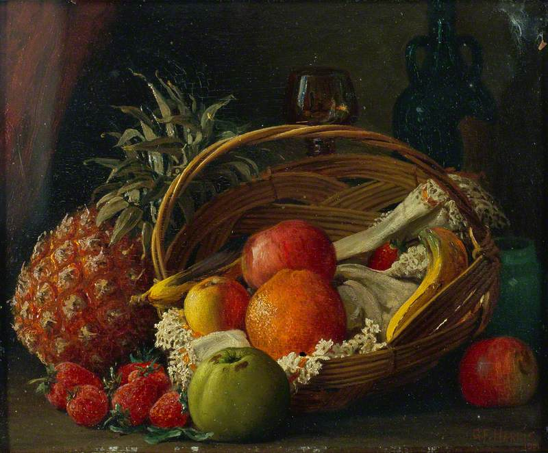 Still Life of Fruit in a Basket, a Pineapple Alongside and Wine Bottle and Glass Behind