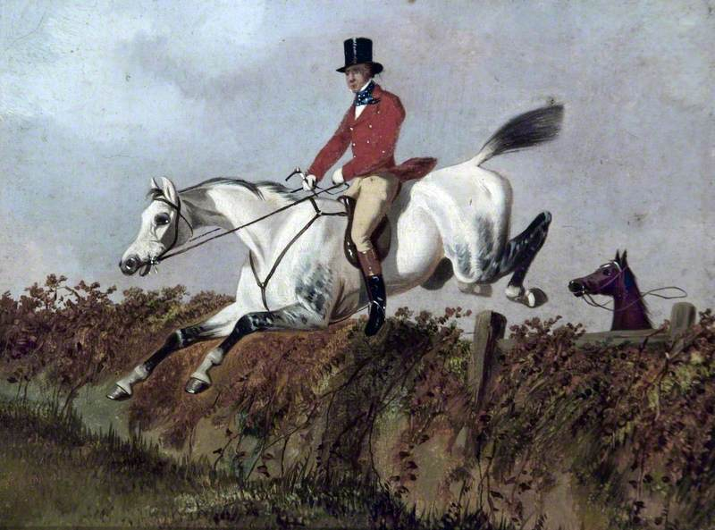 Gentleman on a Grey Horse Taking a Fence