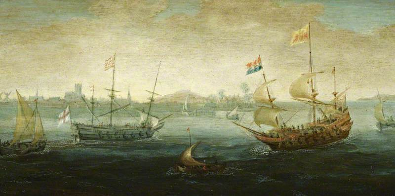 A Dutch and an English Ship off a Harbour