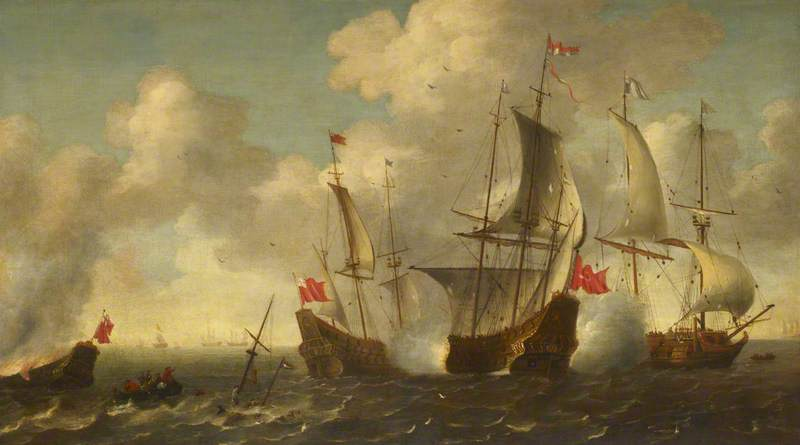 Anglo-Dutch Action: The 'Eendracht' Engaged with Two English Ships