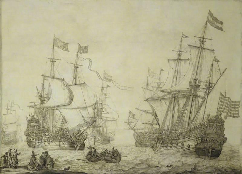 Two Dutch Merchant Ships Under Sail near the Shore in a Moderate Breeze