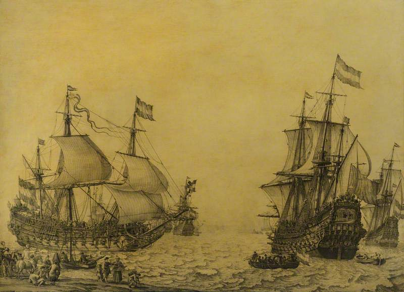 The Dutch Ship 'Oosterwijk' Under Sail near the Shore, in Two Positions
