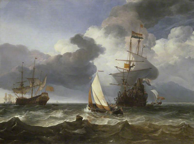A Smalschip with Two Dutch East Indiamen Coming to Anchor