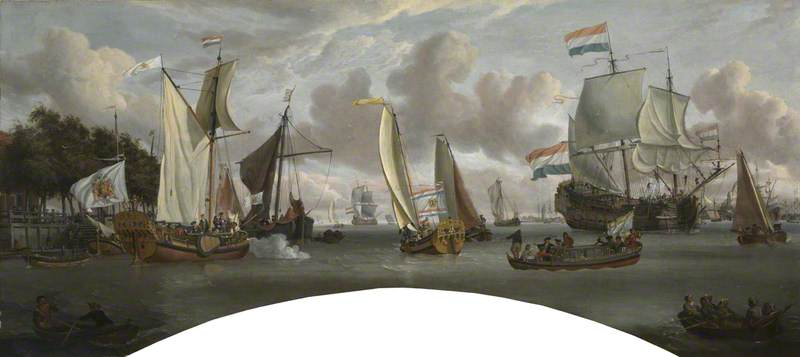 Ships on the River IJ in Front of the Tollhouse near Amsterdam