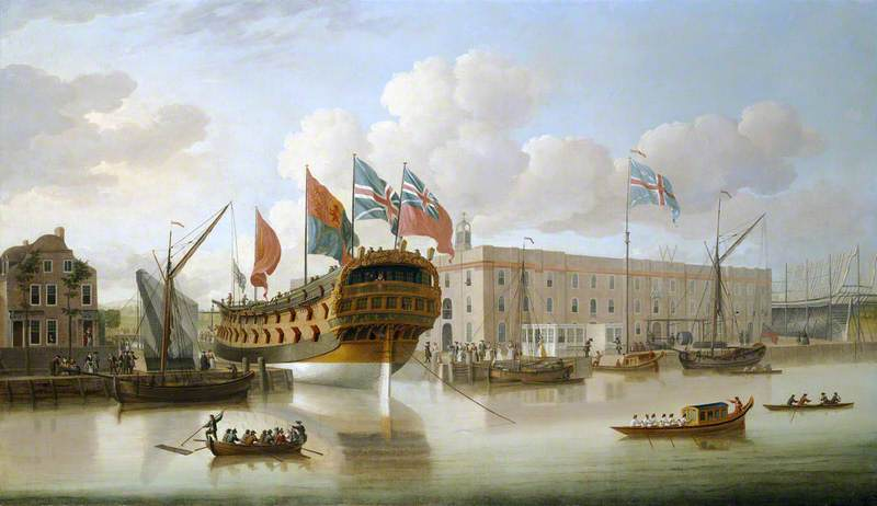 The 'St Albans' Floated out at Deptford, 1747