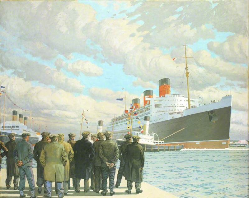 The Passenger Liner 'Queen Mary' Arriving at Southampton, 27 March 1936