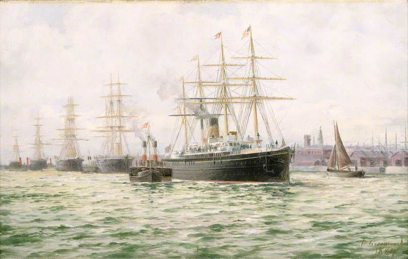 The White Star Line Steamship 'Adriatic' Leaving Liverpool