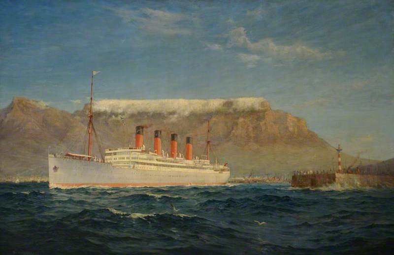 The Union Castle Steamship 'Arundel Castle' in Table Bay