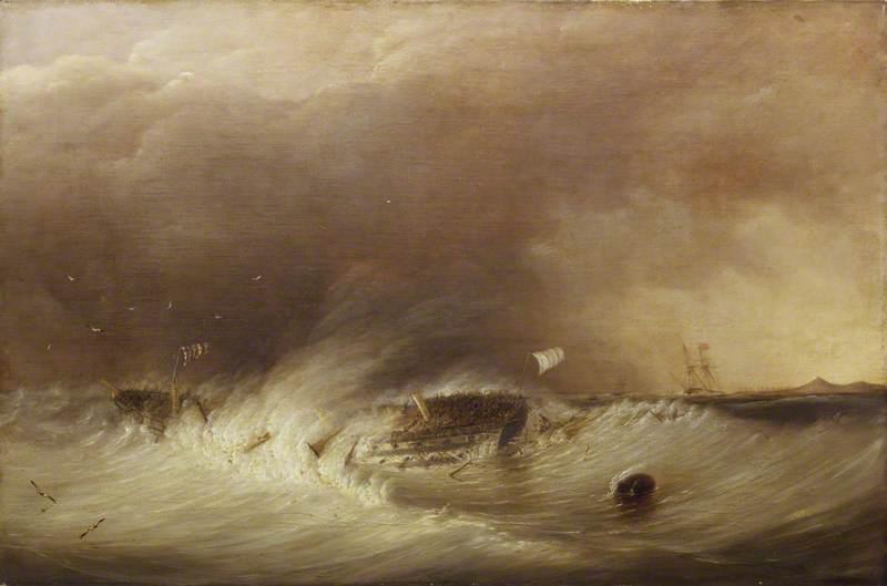 The Wreck of HMS 'Hero' in the Texel, 25 December 1811