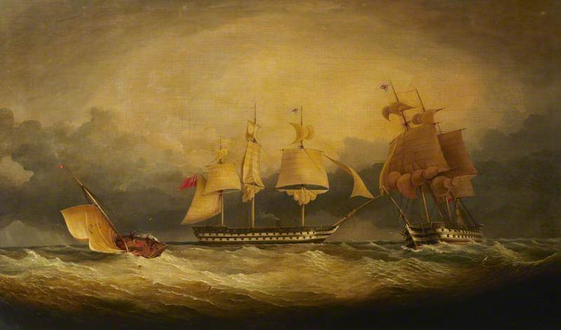 HMS 'Queen' and 'Princess Royal' in a Stormy Sea