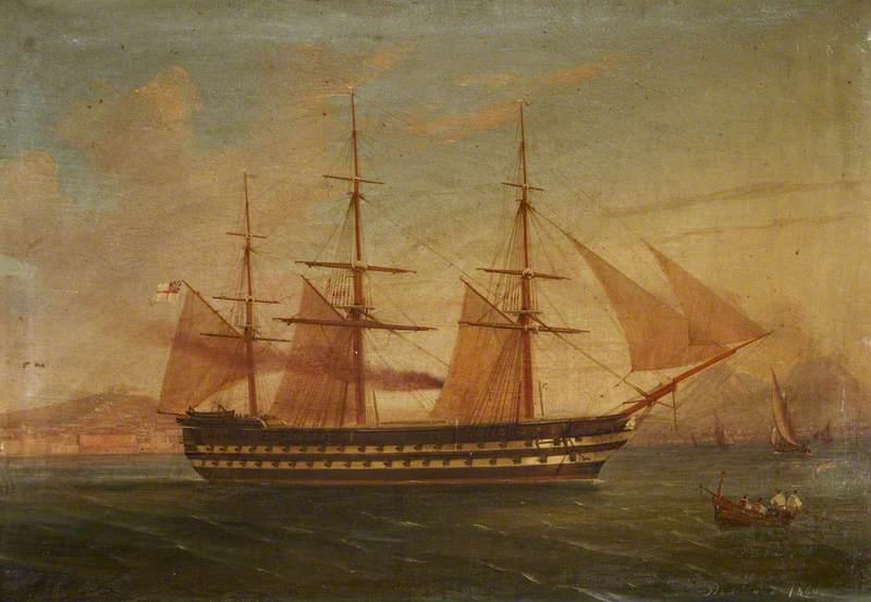 HMS 'Trafalgar' at Naples