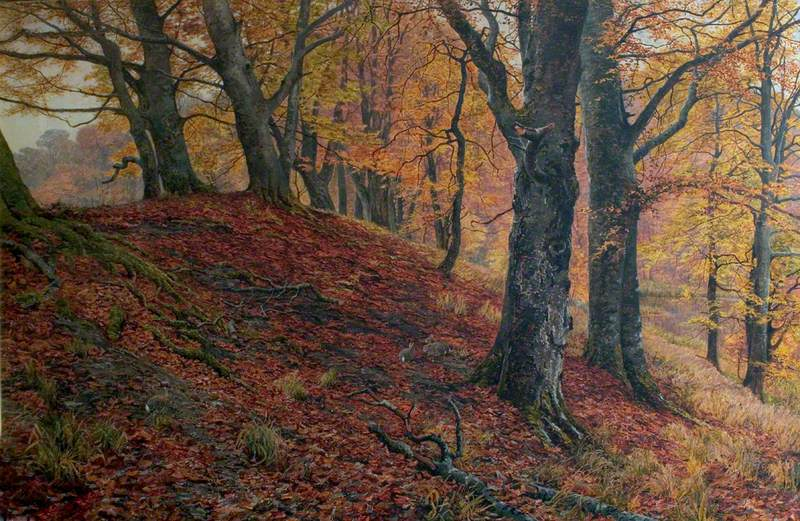At the Fall of Leaf, Arundel Park, Sussex (Woodland Scene in Autumn)
