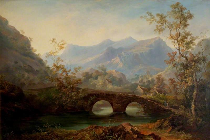Mountainous Landscape with River, Bridge and Cottages