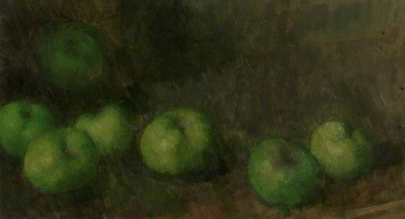 Green Apples on a Bamboo Table