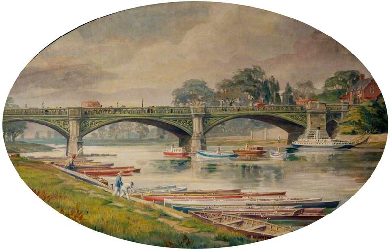 Trent Bridge Pre-Embankment, with Rowing Boats and Steam Boats