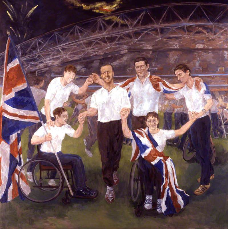 Six British Paralympic Athletes (Maggie McEleny, seated; Caroline Innes; Simon Jackson; Chris Holmes; Noel Thatcher; Tanni Grey-Thompson, seated)